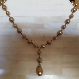 Necklace / Faux Pearls / Pink / Large Drop